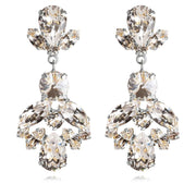Rhodium plated Statement Earrings with swarovski crystals