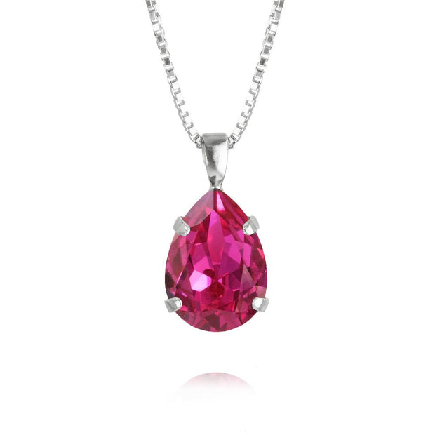 Caroline Svedbom - Mini Drop Necklace Fuchsia Rhodium