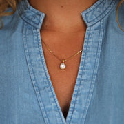 Petite Drop Necklace / Crystal