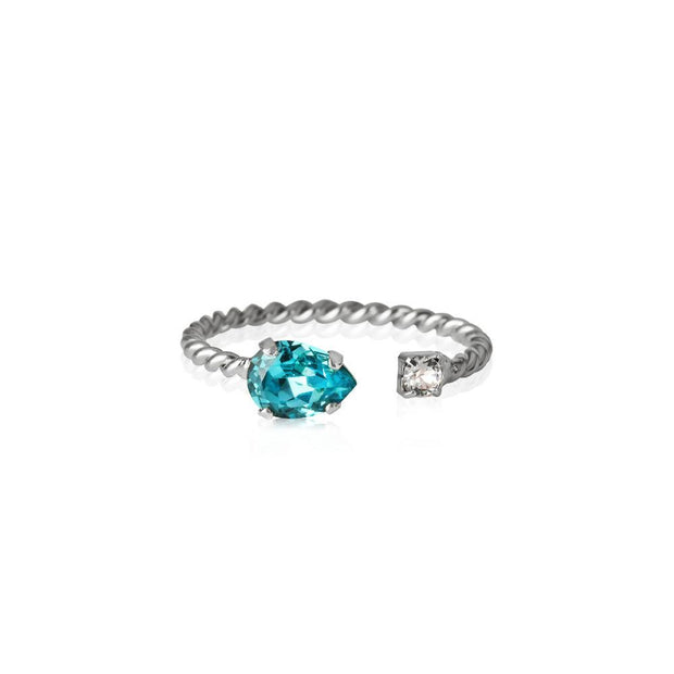 Caroline Svedbom - Nani Ring Light Turquoise Rhodium