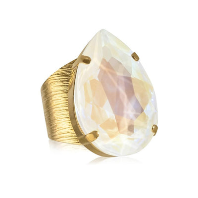 18k gold plated Drop Ring  with swarovski crystals