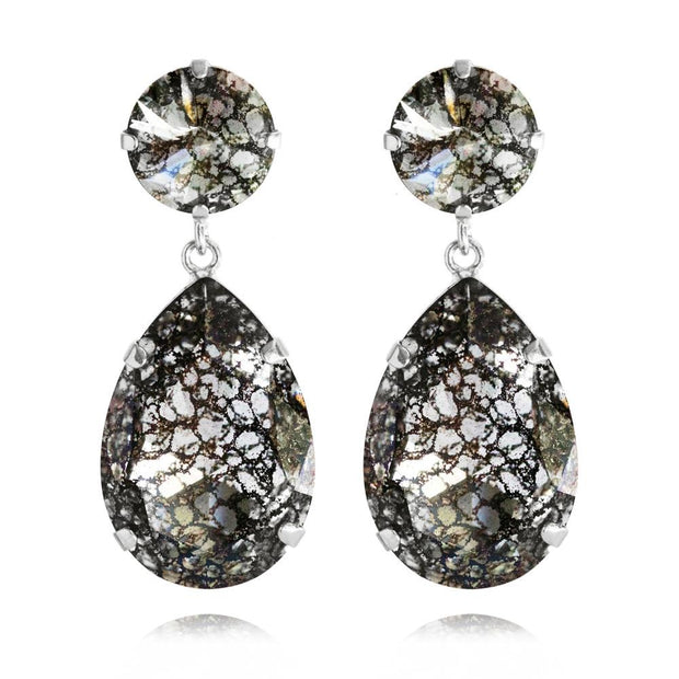 Rhodium plated Drop Earrings with swarovski crystals