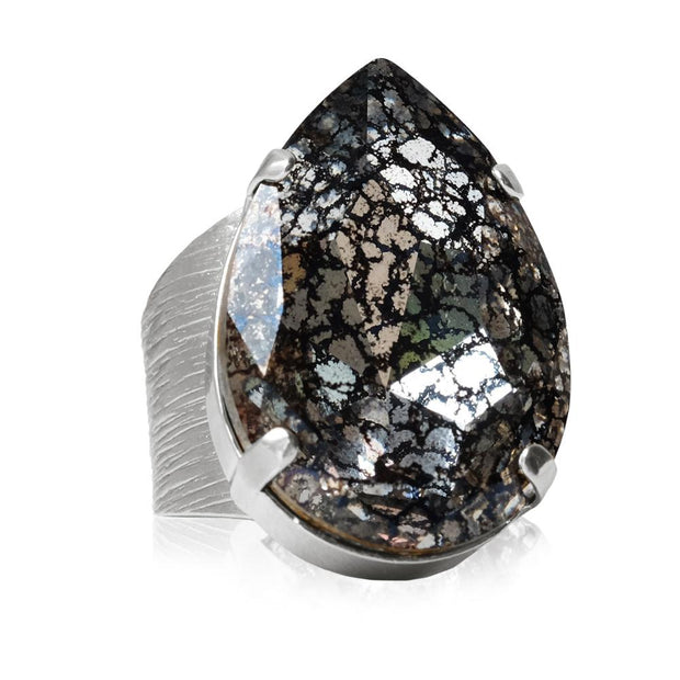 Rhodium plated Drop Ring with swarovski crystals