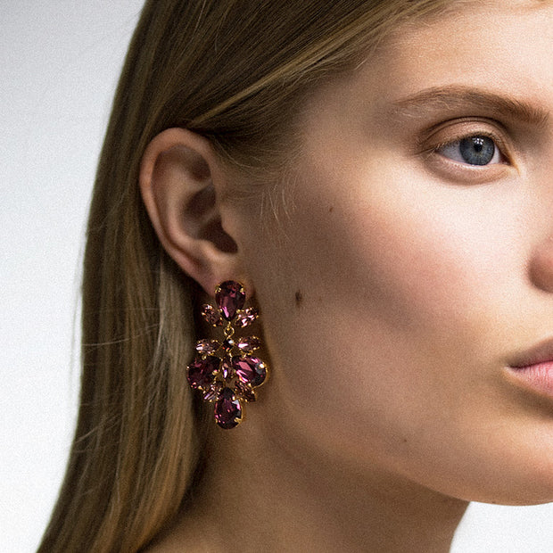 Selene Earrings / Burgundy + Rose Blush