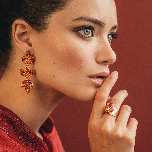 Tekla Earrings / Tangerine