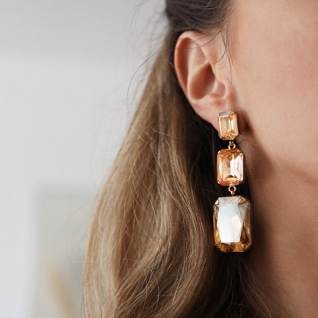 Alexa Long Earrings / Golden Shadow + Light Peach