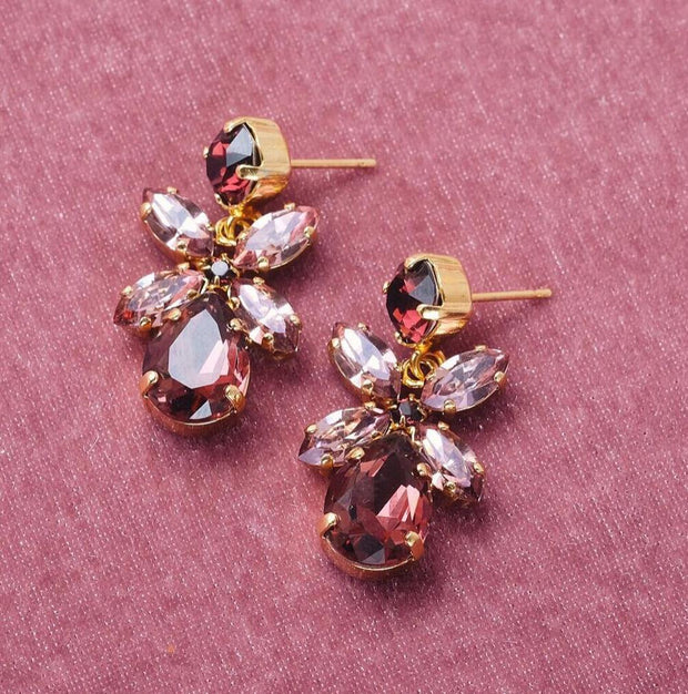 Mini Dione Earrings / Burgundy + Blush Rose