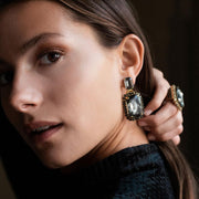 Alexa Earrings / Black Diamond + Jet