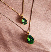 Classic Drop Necklace / Dark Moss Green