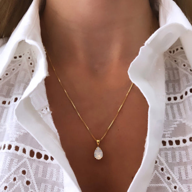 Petite Drop Necklace / White Opal