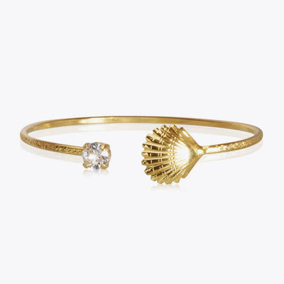 18k gold plated shell bracelet with swarovski crystals