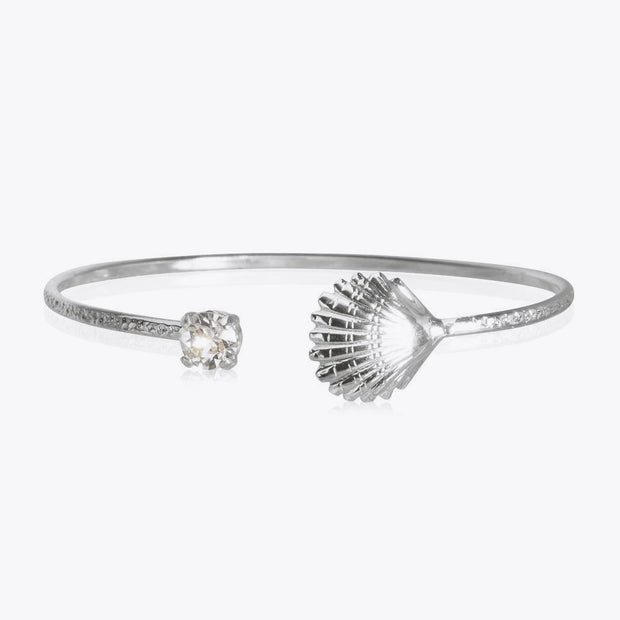 Rhodium plated shell bracelet with swarovski crystals