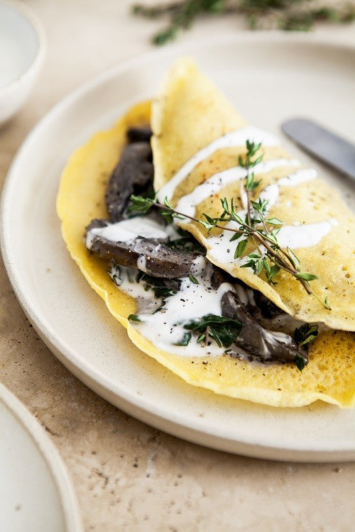 Mushroom and Spinach Crepes