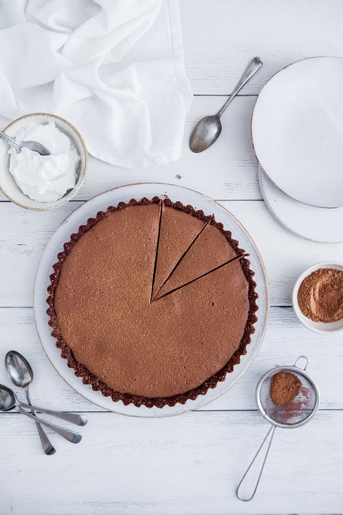 Raw Chocolate Rhubarb Tart