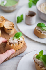 White Bean Crostini with Garlic Basil Sauce 4