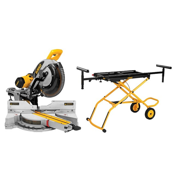 "DeWalt DWS780RST 12"" Double Bevel Sliding Compound Mitre Saw with Rolling Stand"