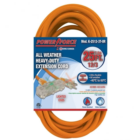 King Canada 25ft Triple Tap Extension Cord - All Weather Proof