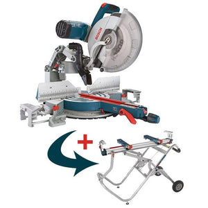 BOSCH GCM12SD 12 In. Dual-Bevel Glide Miter Saw complete with T4B Stand