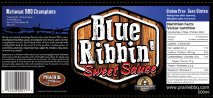 Blue Ribbin' Sweet Sauce - Prairie Smoke & Spice - 500ml