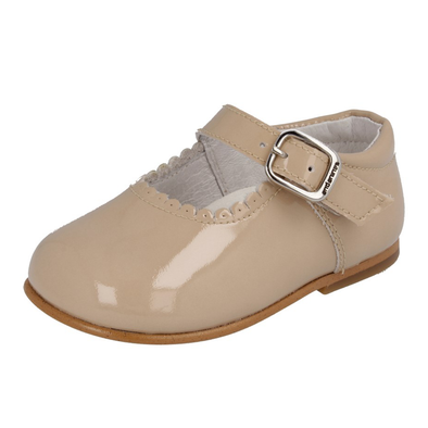Girls Andanines Camel Patent Mary Jane Shoes