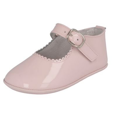 Andanines Girls Pink Leather Patent Pram Shoes 172901
