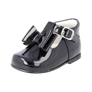 Andanines Girls Navy Bow T-Bar Shoes 182810N