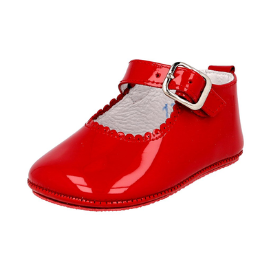 Andanines Girls Red Leather Patent Pram Shoes 172901R