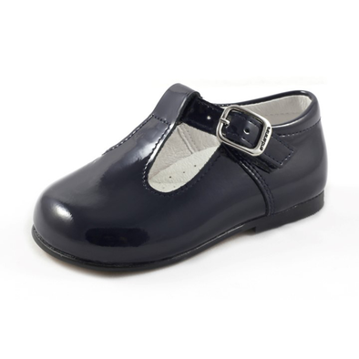 Andanines Navy Patent T-Bar Shoes 162805N