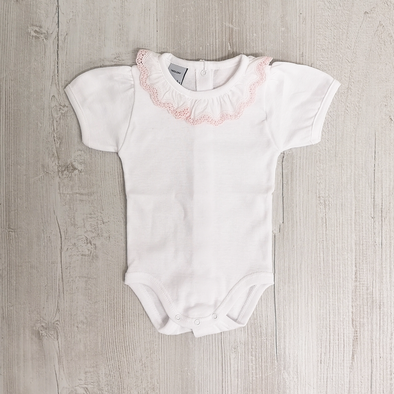 Babidu Short Sleeve White And Pink Frill Collar Bodysuit
