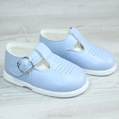 Boys Blue T Bar Hard Sole Shoes