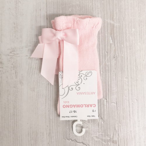 Carlomagno Baby Pink Bow Knee High Socks