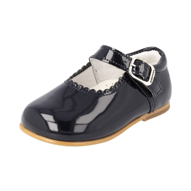 Girls Andanines Navy Patent Mary Jane Shoes 846/803N