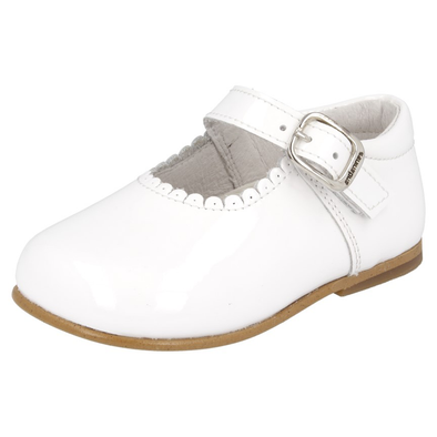 Girls Andanines White Patent Mary Jane Shoes