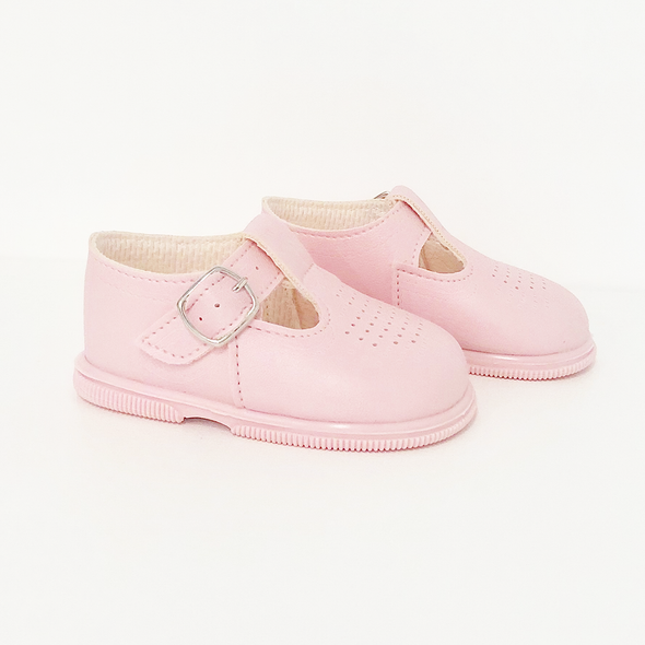 Girls Pink T Bar Hard Sole Shoes