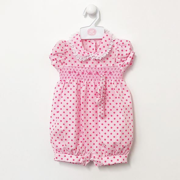 Pink Smocked Spotty Romper With Head Band