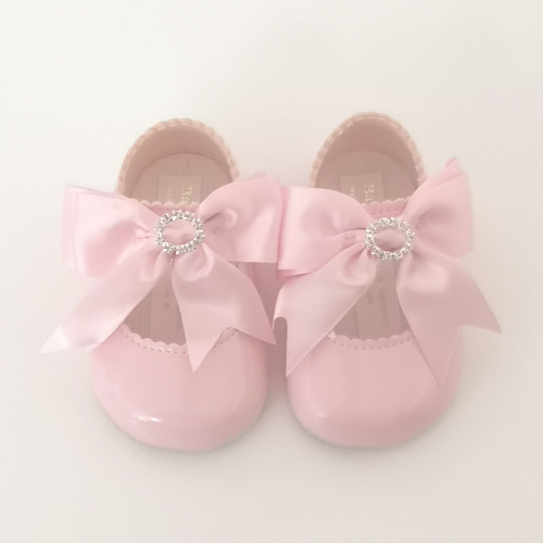 Pink Soft Sole Crystal Bow Shoes