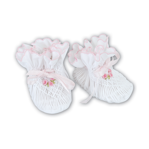 Sarah Louise Smocked White And Pink Booties