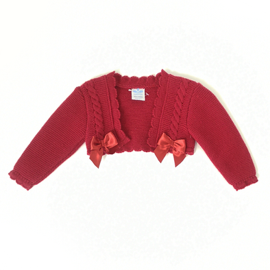 Sardon Red knitted Bow Cardigan