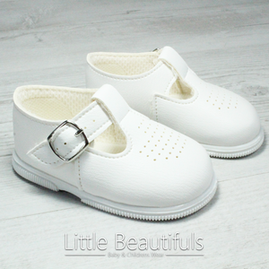 White Unisex T Bar Hard Sole Shoes