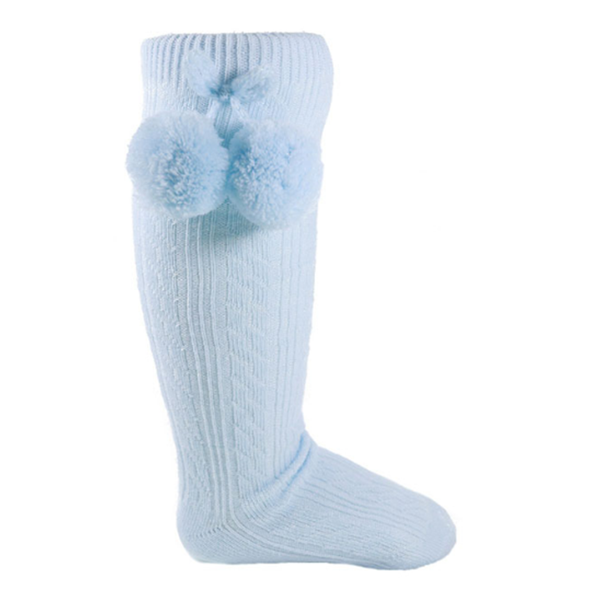 Blue Pom Pom Knee High Socks