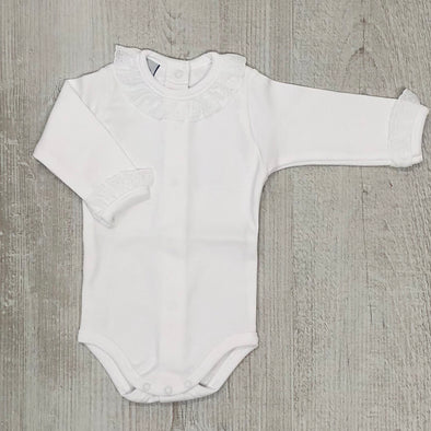Babidu Baby Girls White Long Sleeve Bodysuit