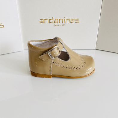 Andanines Camel Patent Leather T-Bar Shoes A71134