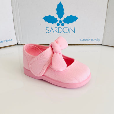 Sardon Pink Canvas Bow Shoes 20AR955L