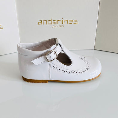 Andanines White Patent Leather T-Bar Shoes A71134