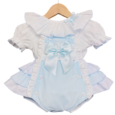 Baby Blue Ruffle Dungaree And Blouse Set