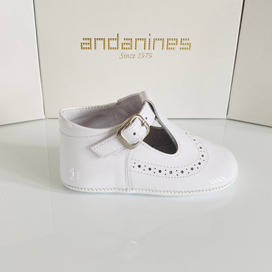 Andanines White Leather T- Bar Patent Pram Shoe 161001