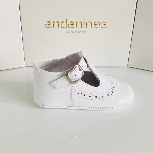 Andanines White Leather T- Bar Patent Pram Shoe 161001W