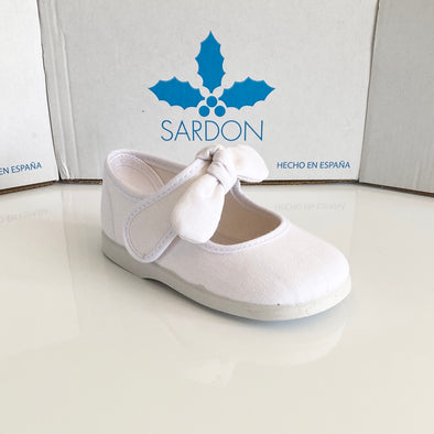 Sardon White Canvas Bow Shoes 20AR955L