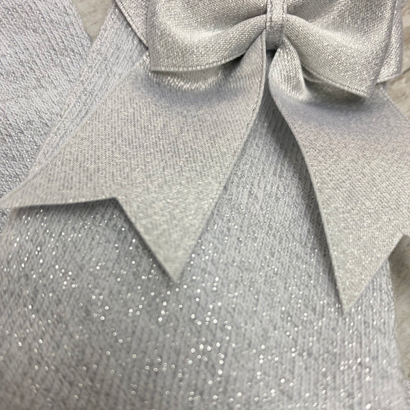 Light Grey Glitter Double Bow Knee High Socks