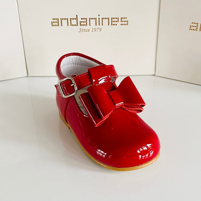 Andanines Girls Red Bow T-Bar Shoes 182810R